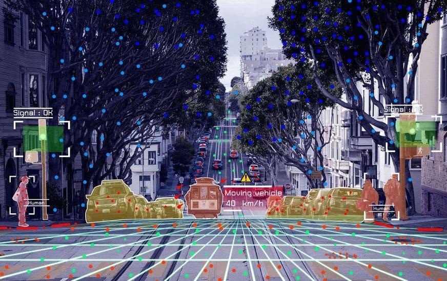 Autonomous driving concept showing Lidar, Radar and Canemra sensor signal system, self-driving