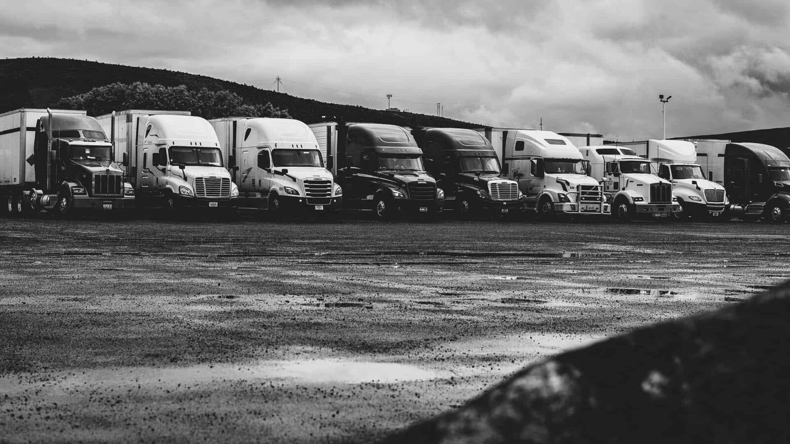 Nine semi trucks parked side-by-side in a parking lot against a overcast cloudy sky.